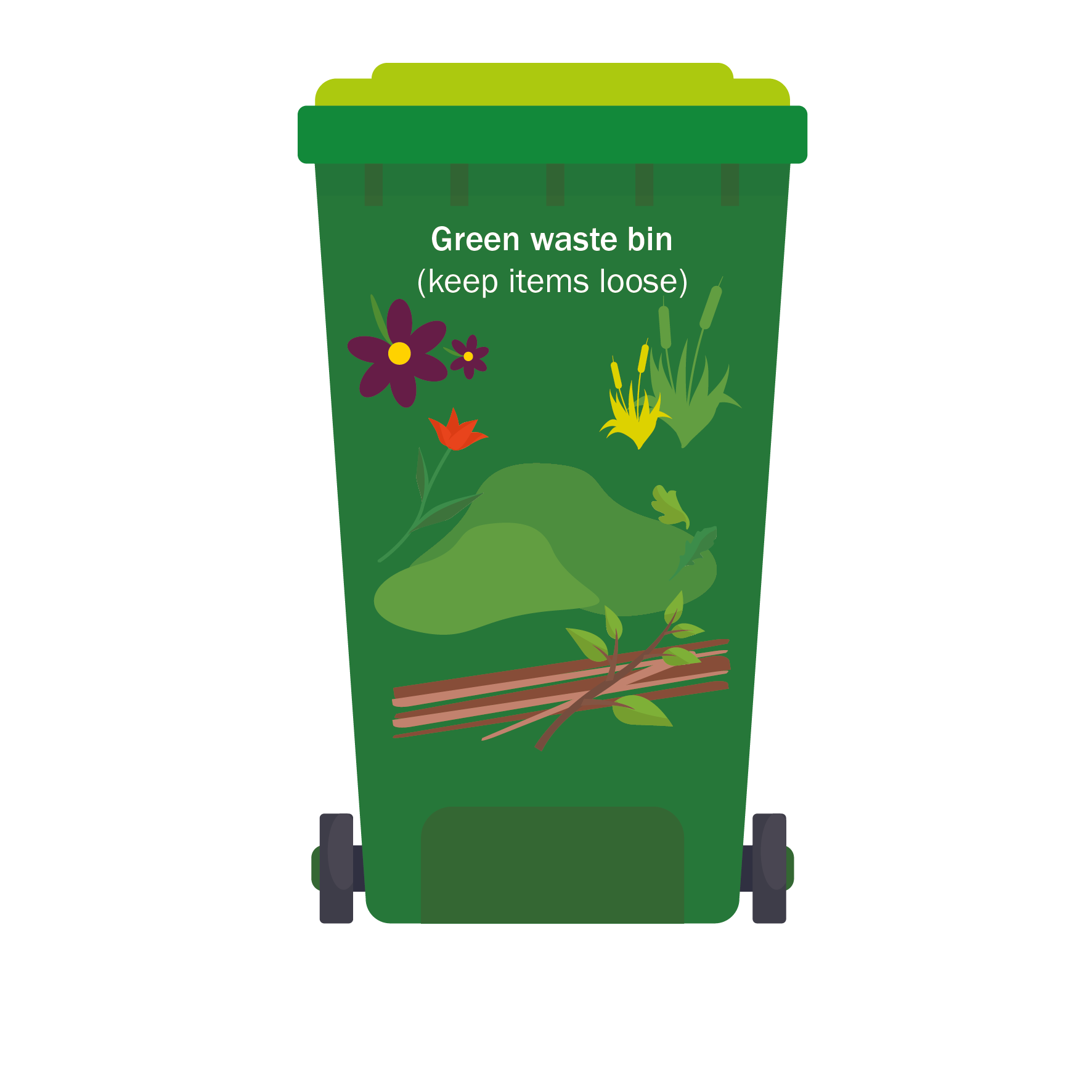 Examples of green waste bin items - see text