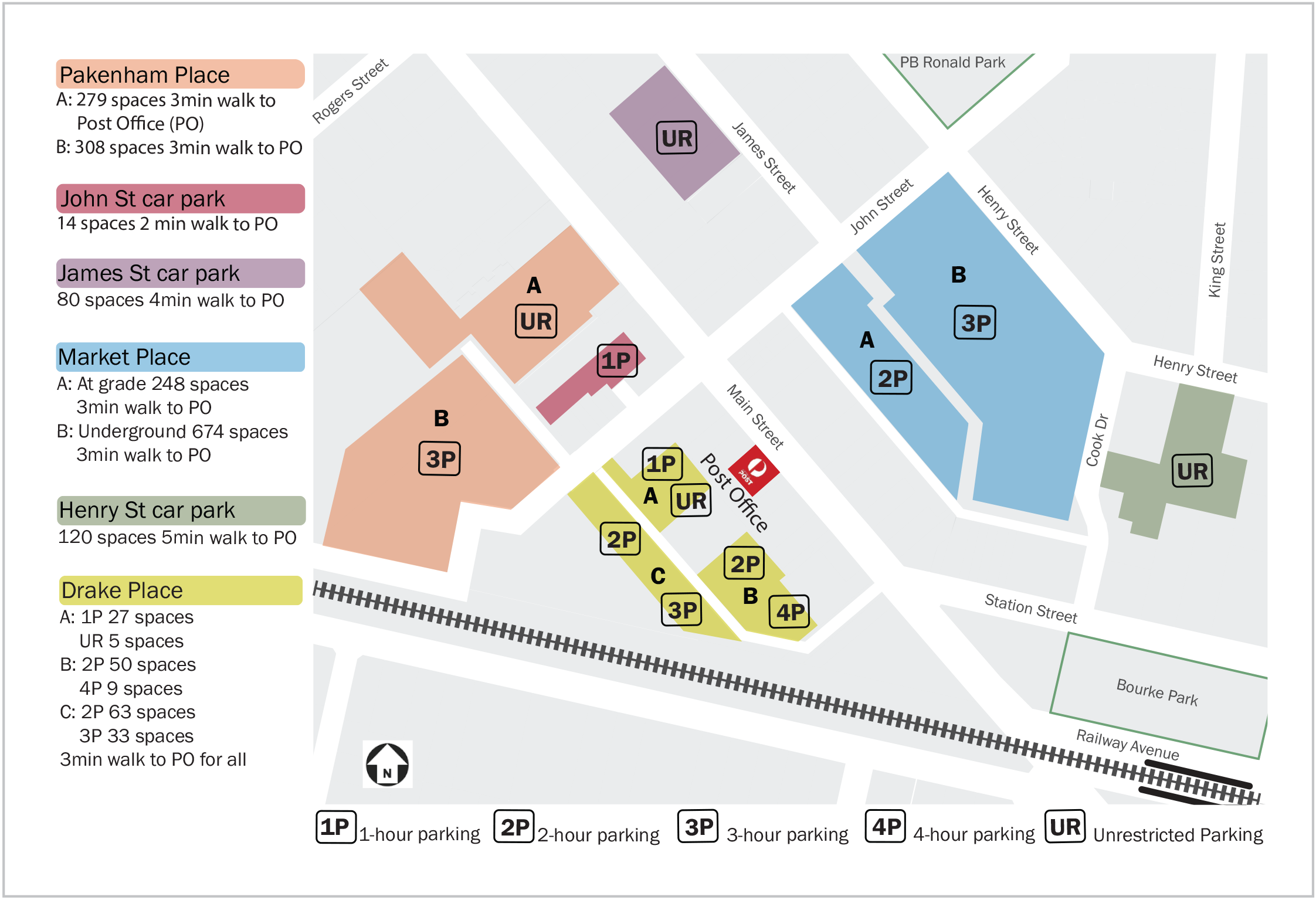 Map of available car parking