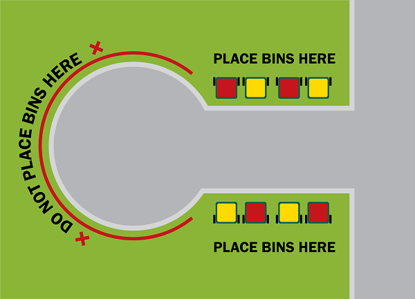 "Place the bins in the straight part of the road as it approaches the round part of the street - do not place them in the round part (""bowl"") of the street."