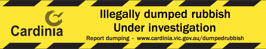 "Yellow and black warning tape design: ""illegally dumped rubbish under investigation"""