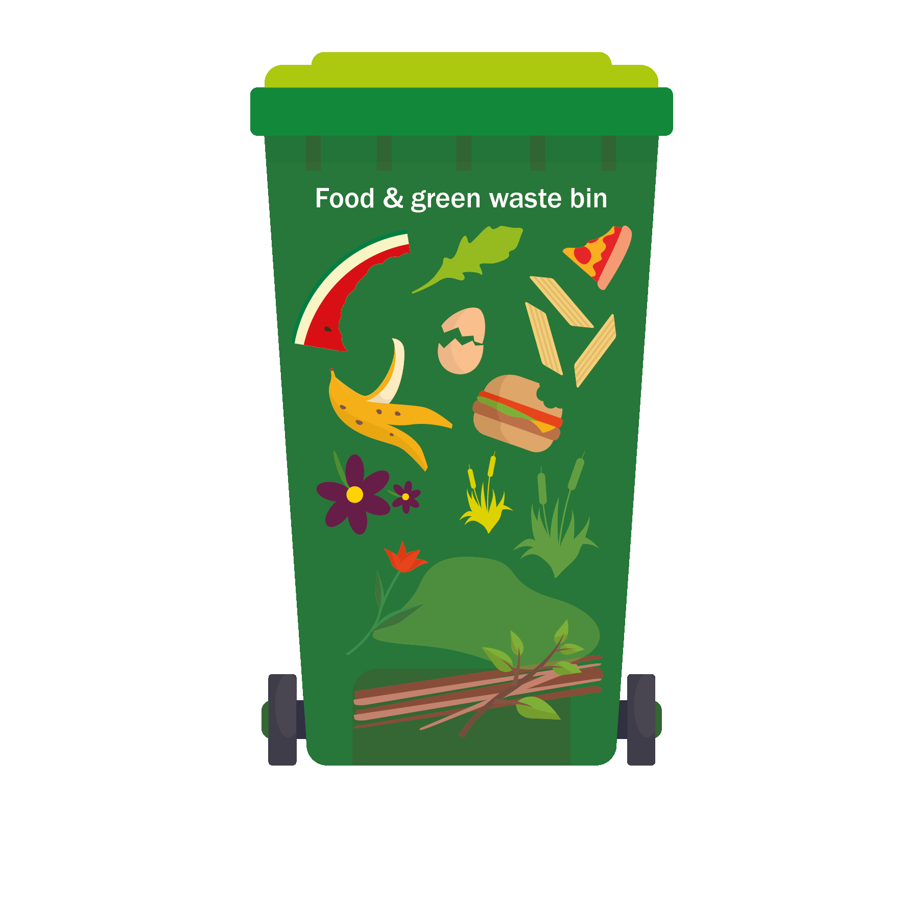 See web content for list of items accepted in green waste