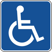 Shows a disability parking sign - which is the white outline of a person in a wheelchair on a blue background.